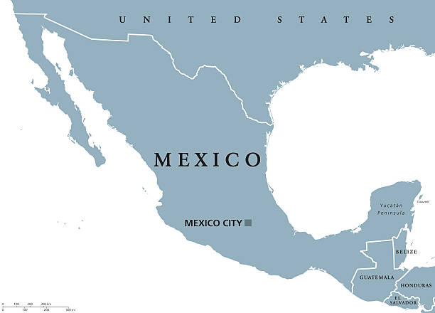 Us Mexico Border Clip Art Vector Images Illustrations IStock - Us mexico vector map
