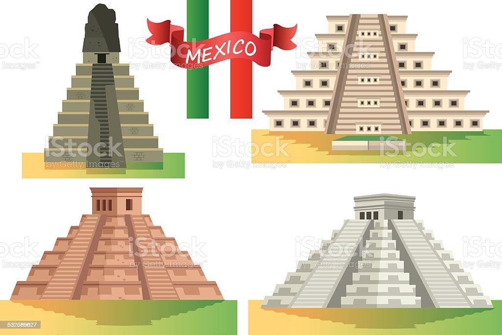 Mexico Pyramits vector art illustration