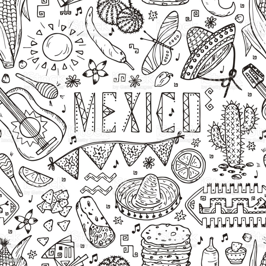 Mexico Seamless pattern. Hand drawn doodle Elements of Mexican Culture. vector art illustration
