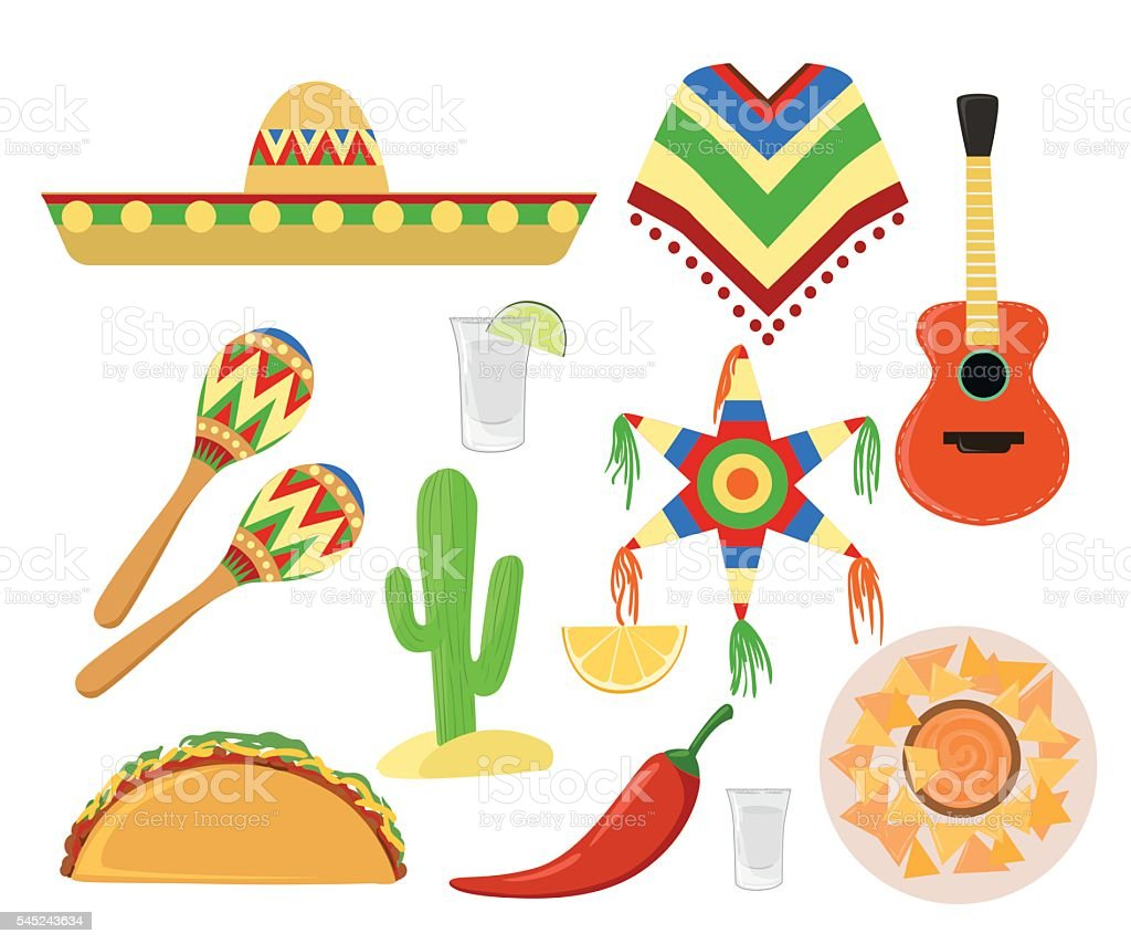 Mexico set cinco de mayo Sombrero, maracas and jalapeno vector art illustration