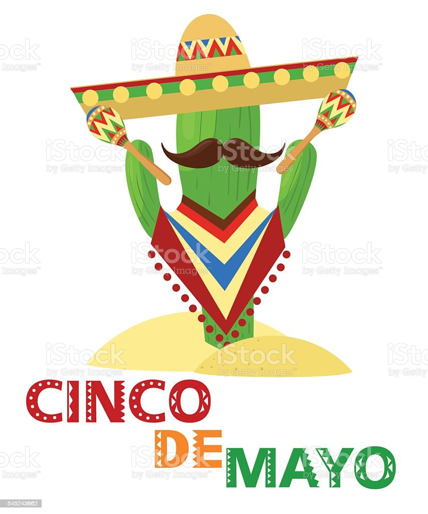Mexico set cinco de mayo Sombrero, maracas and jalapeno vector art illustration
