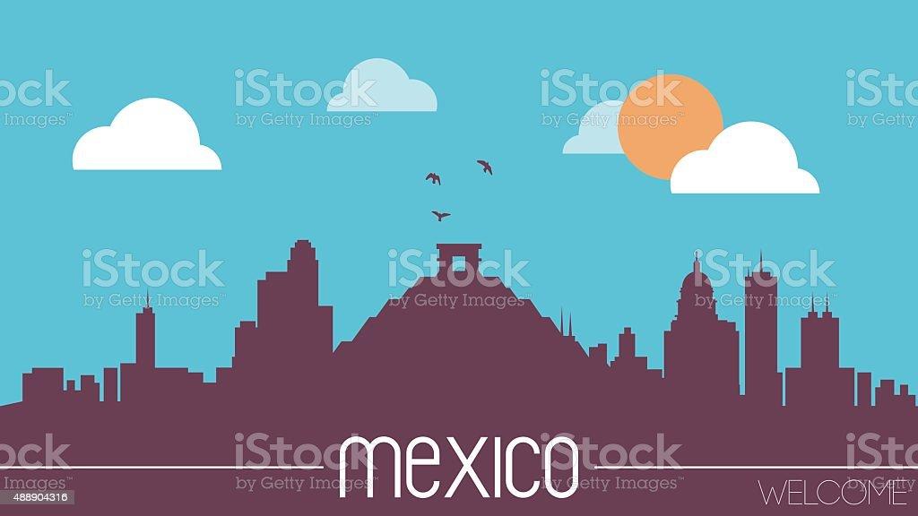 Mexico skyline silhouette vector art illustration
