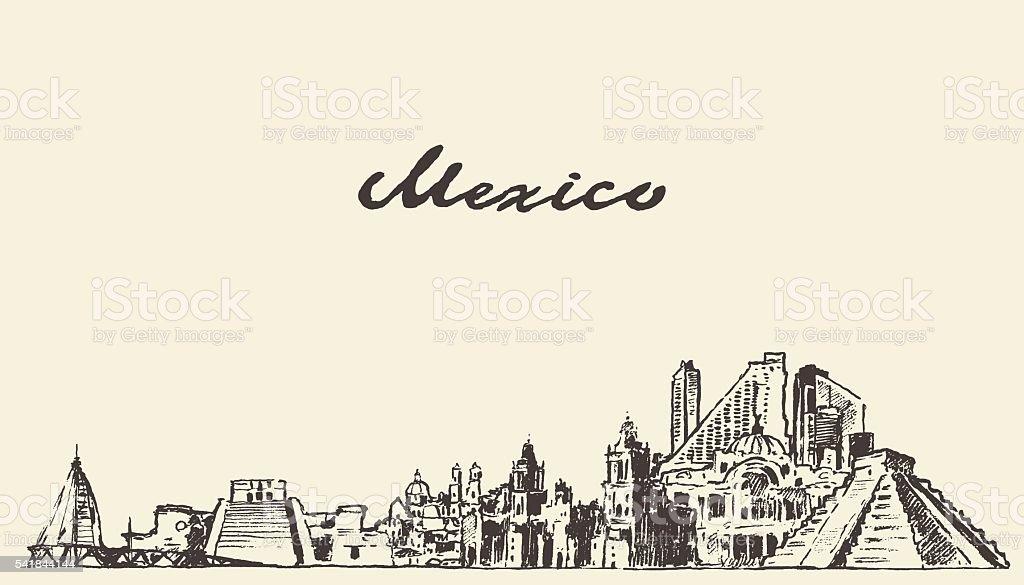 Mexico skyline vector illustration drawn sketch vector art illustration