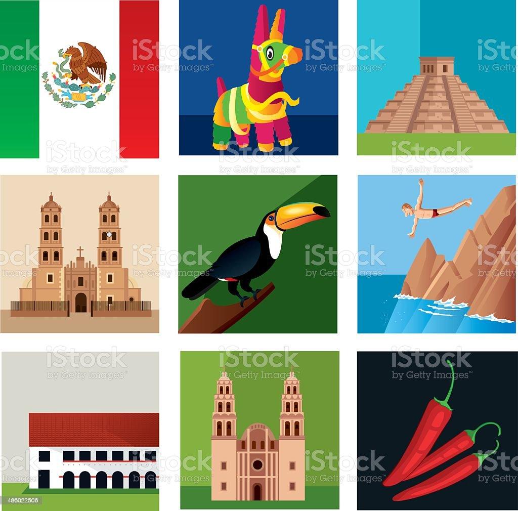 Mexico Symbols vector art illustration