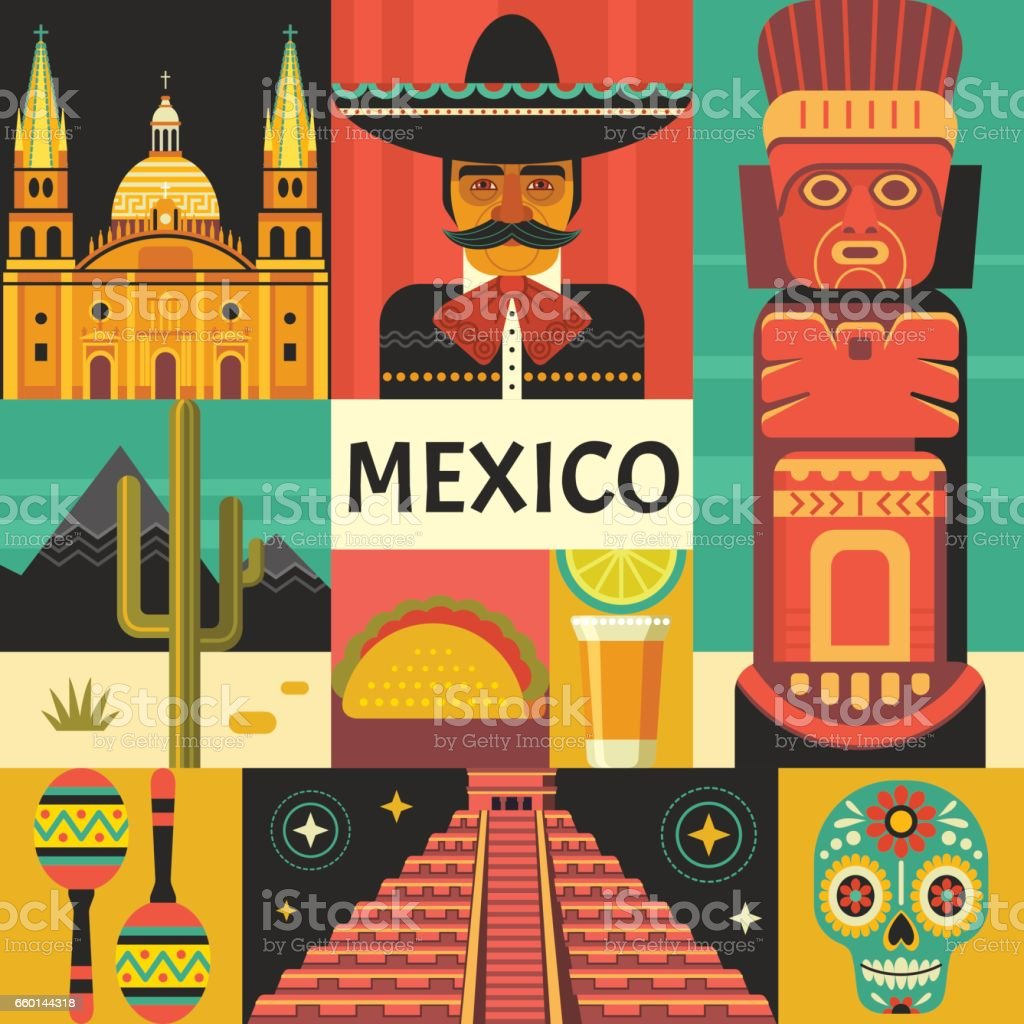 Mexico travel poster concept. vector art illustration
