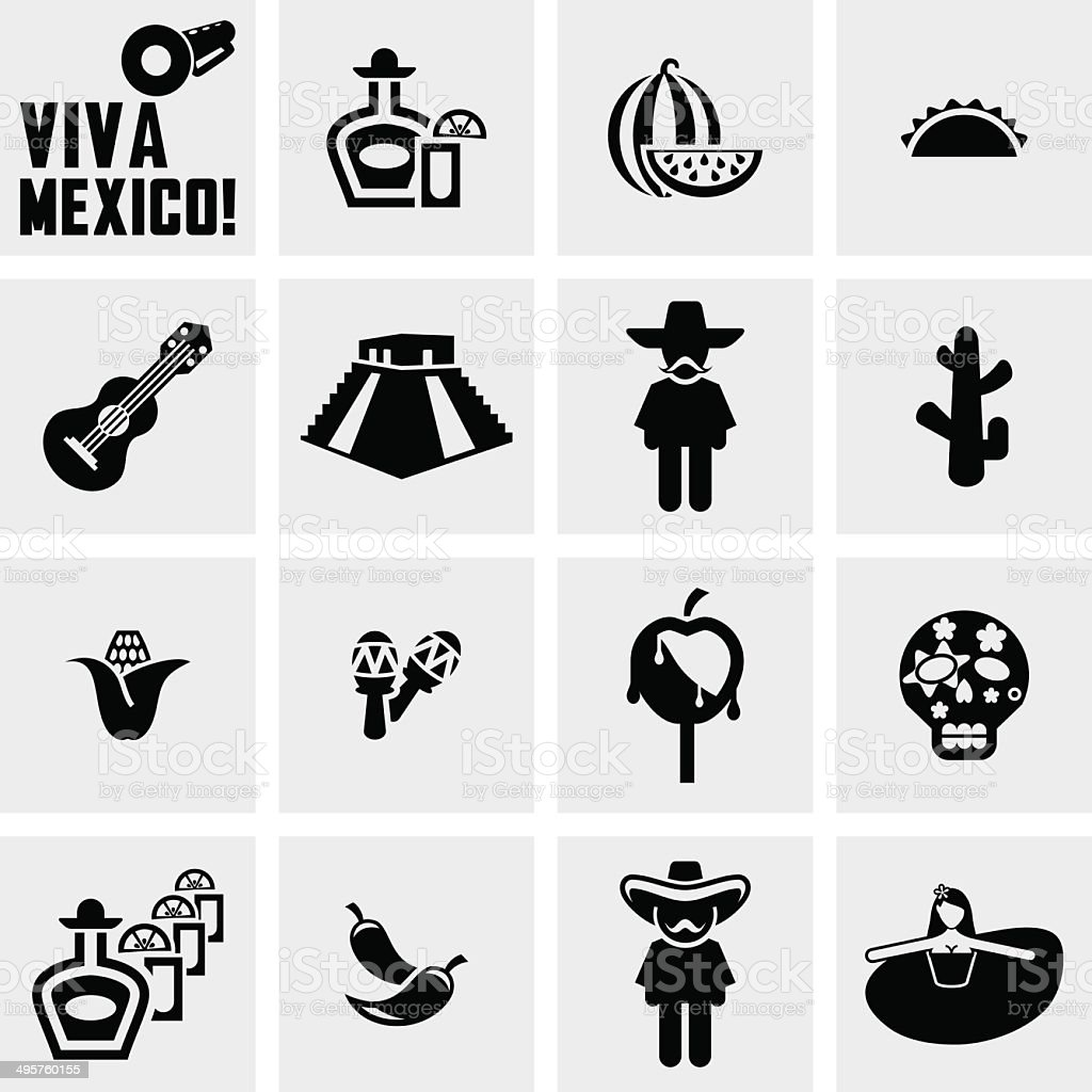 Mexico vector icons set on gray vector art illustration