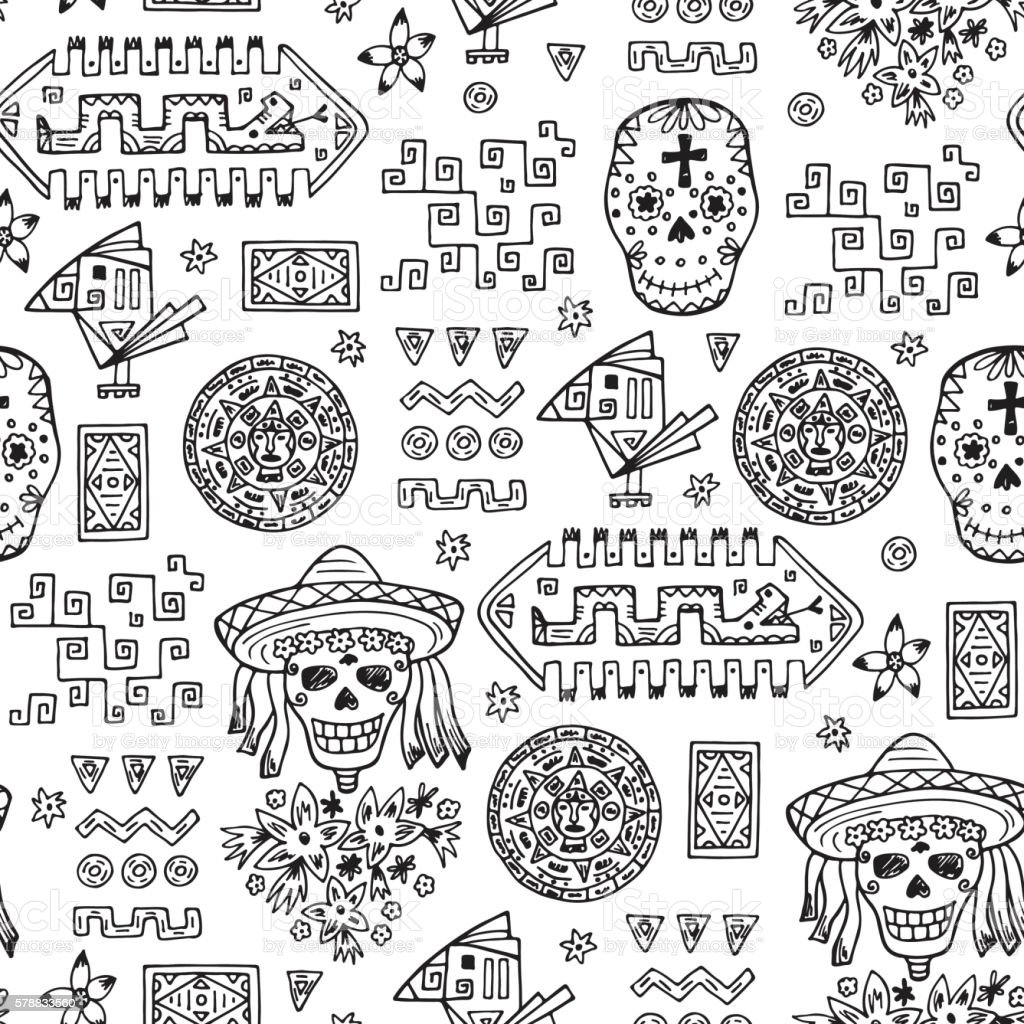 Mexico Vector Seamless pattern. Hand drawn doodle Mexican Day of the...
