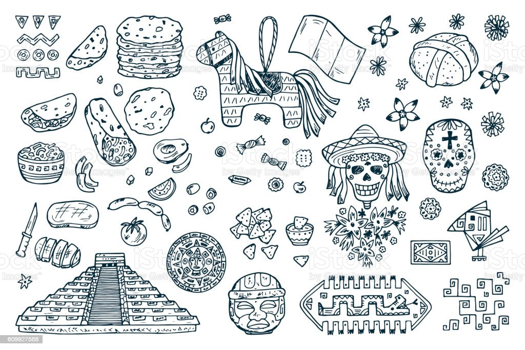 Mexico Vector set. Day of the Dead Attributes, patterns, food vector art illustration