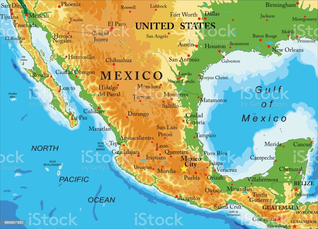 Mexico-relief map vector art illustration