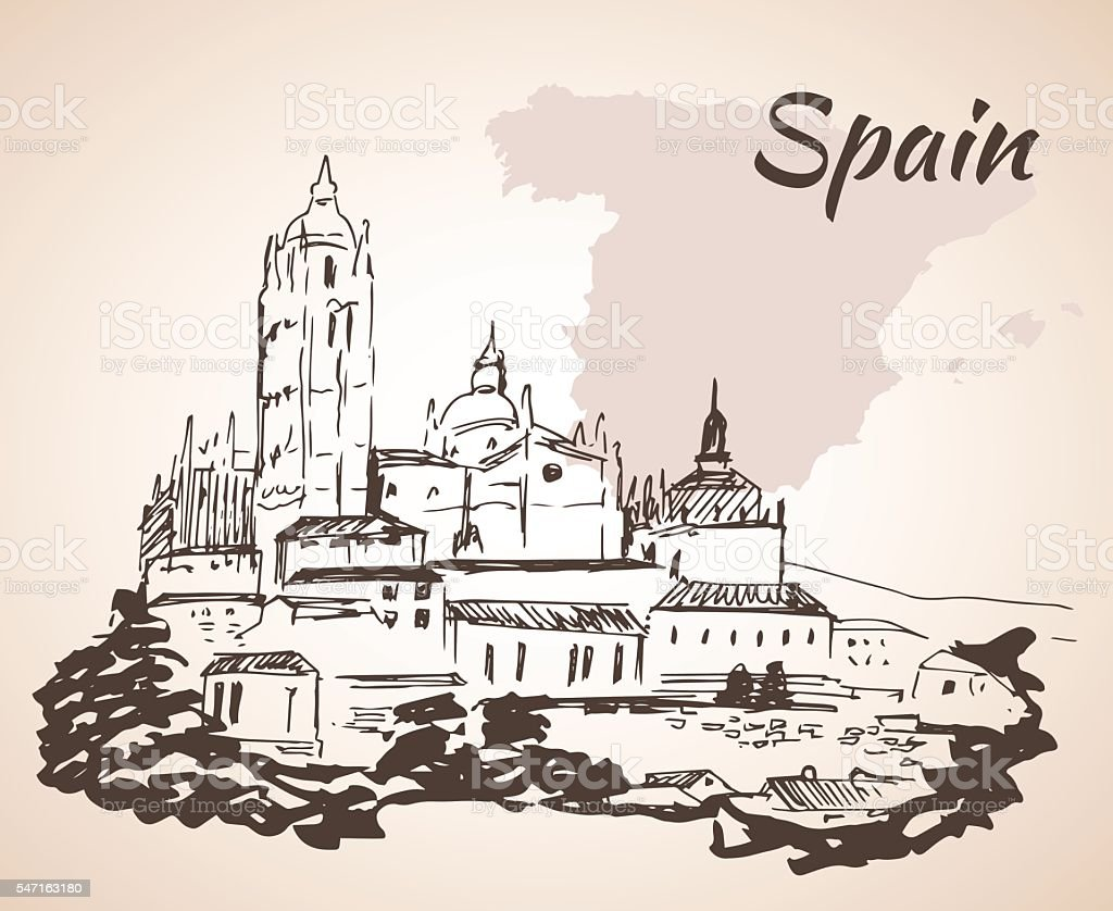 Mezquita Cathedral The Great Mosque in the city of Cordoba vector art illustration