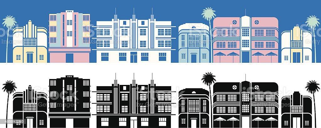 Miami Buildings vector art illustration