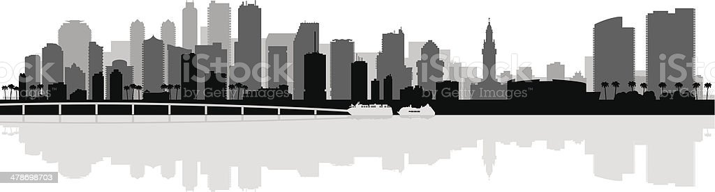 Miami city skyline silhouette background vector art illustration