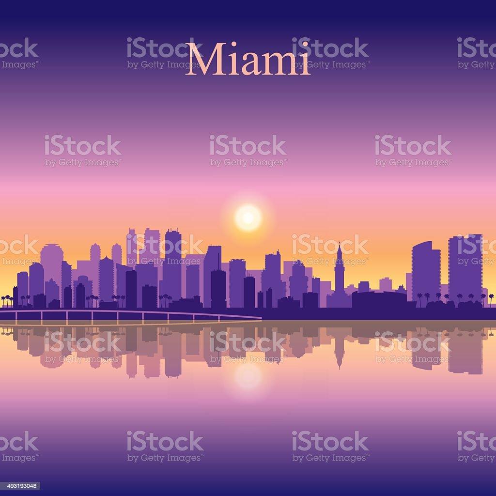 Miami city skyline silhouette background vector art illustration