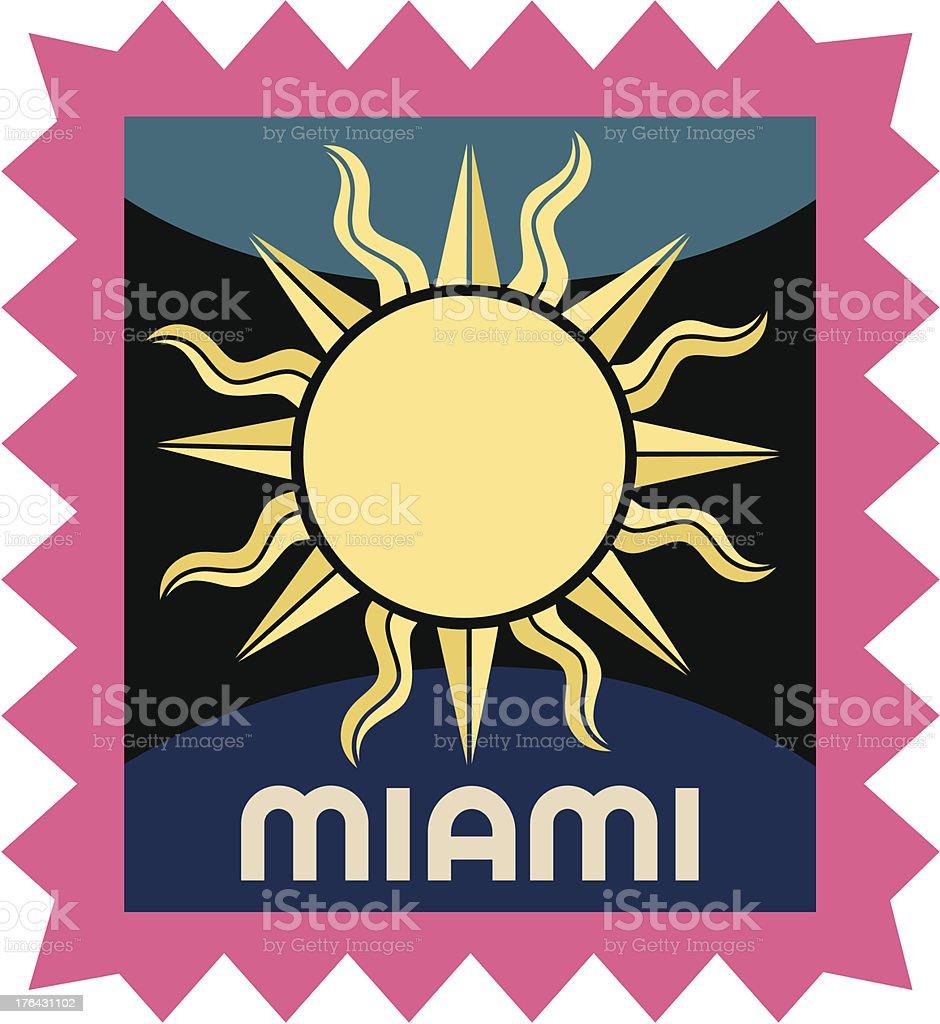 Miami luggage label or travel sticker vector art illustration