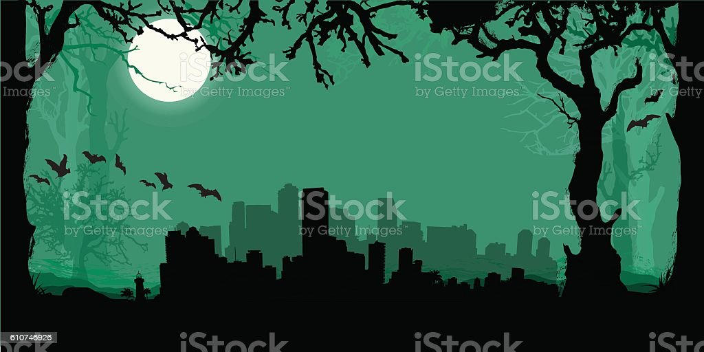 Miami Silhouette Skyline with scary forest vector art illustration