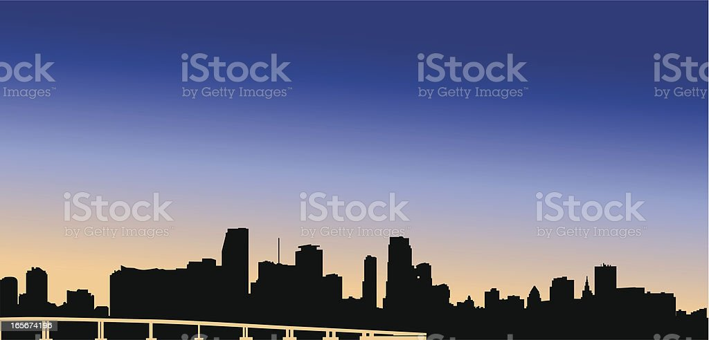 Miami Skyline at dusk royalty-free stock vector art