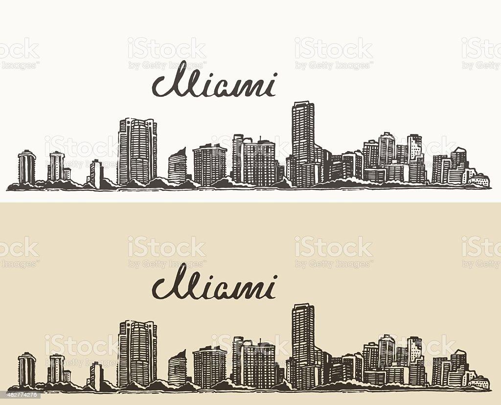 Miami skyline engraved vector hand drawn sketch vector art illustration