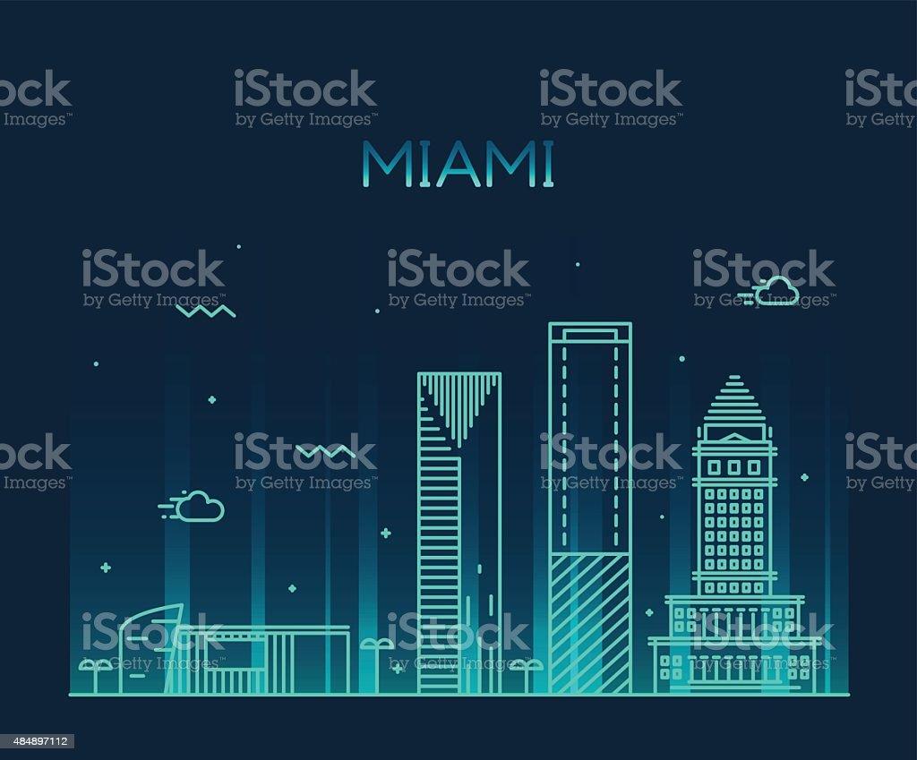 Miami skyline trendy vector illustration linear vector art illustration