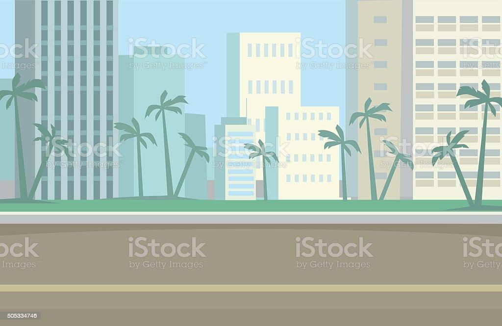 Miami Skyline. Vector flat illustration vector art illustration