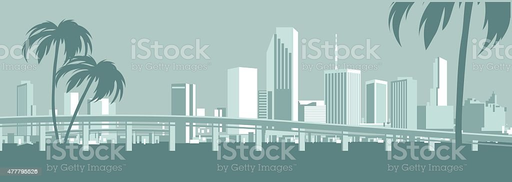 Miami Skyline vector art illustration
