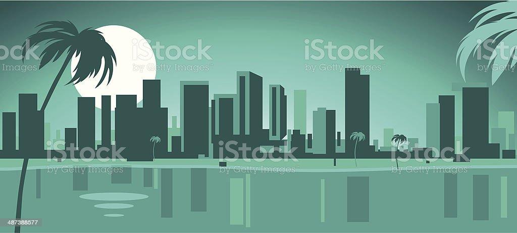 Miami Skyline vector art illustration