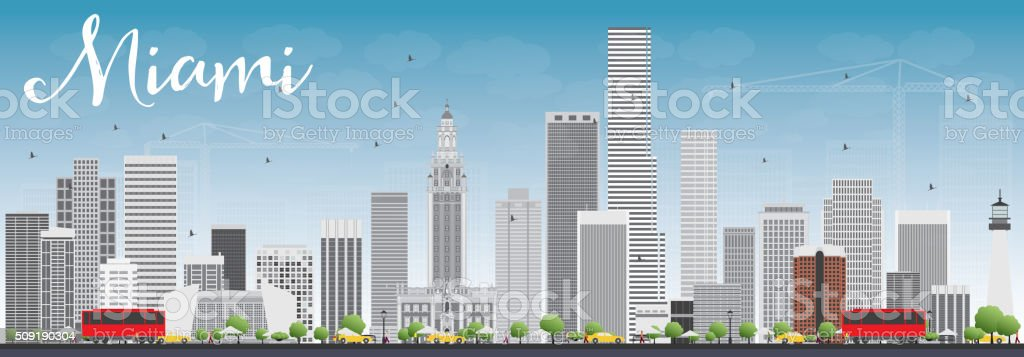 Miami Skyline with Gray Buildings and Blue Sky. vector art illustration