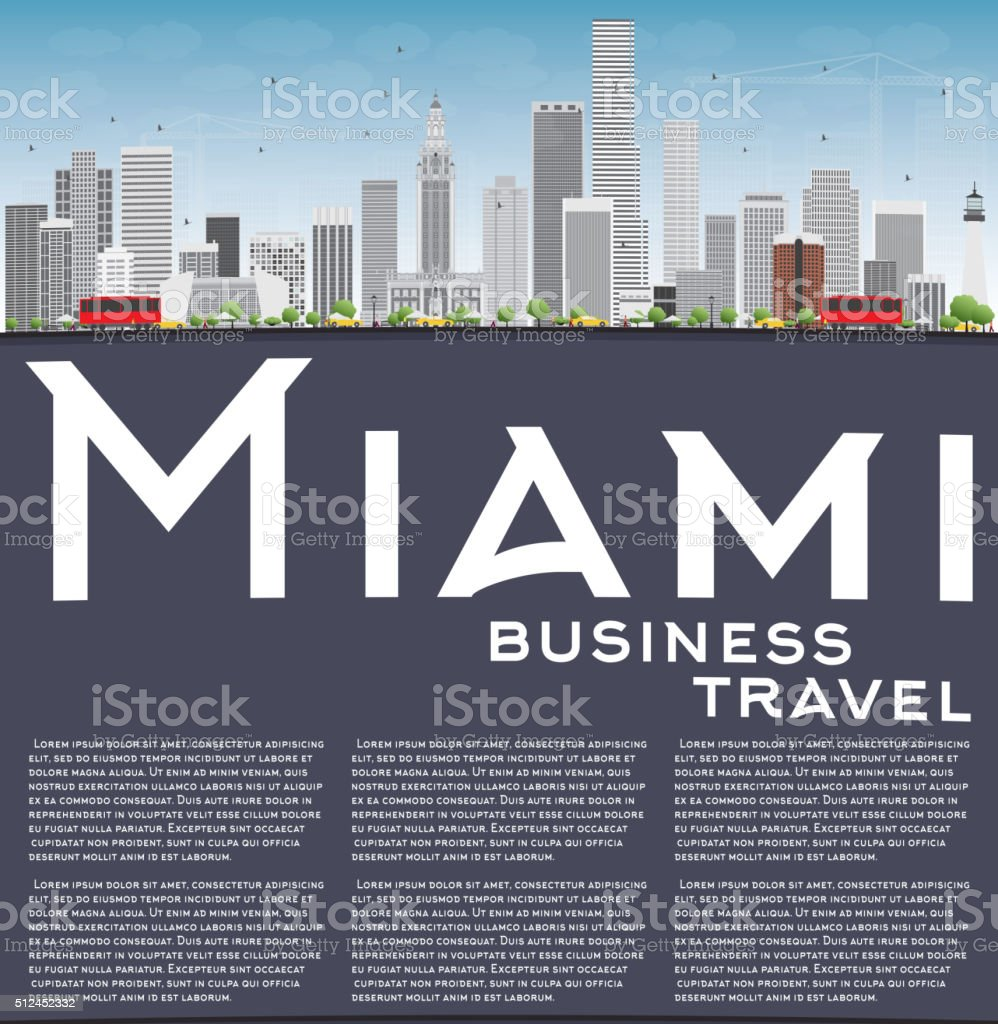 Miami Skyline with Gray Buildings, Blue Sky and Copy Space. vector art illustration