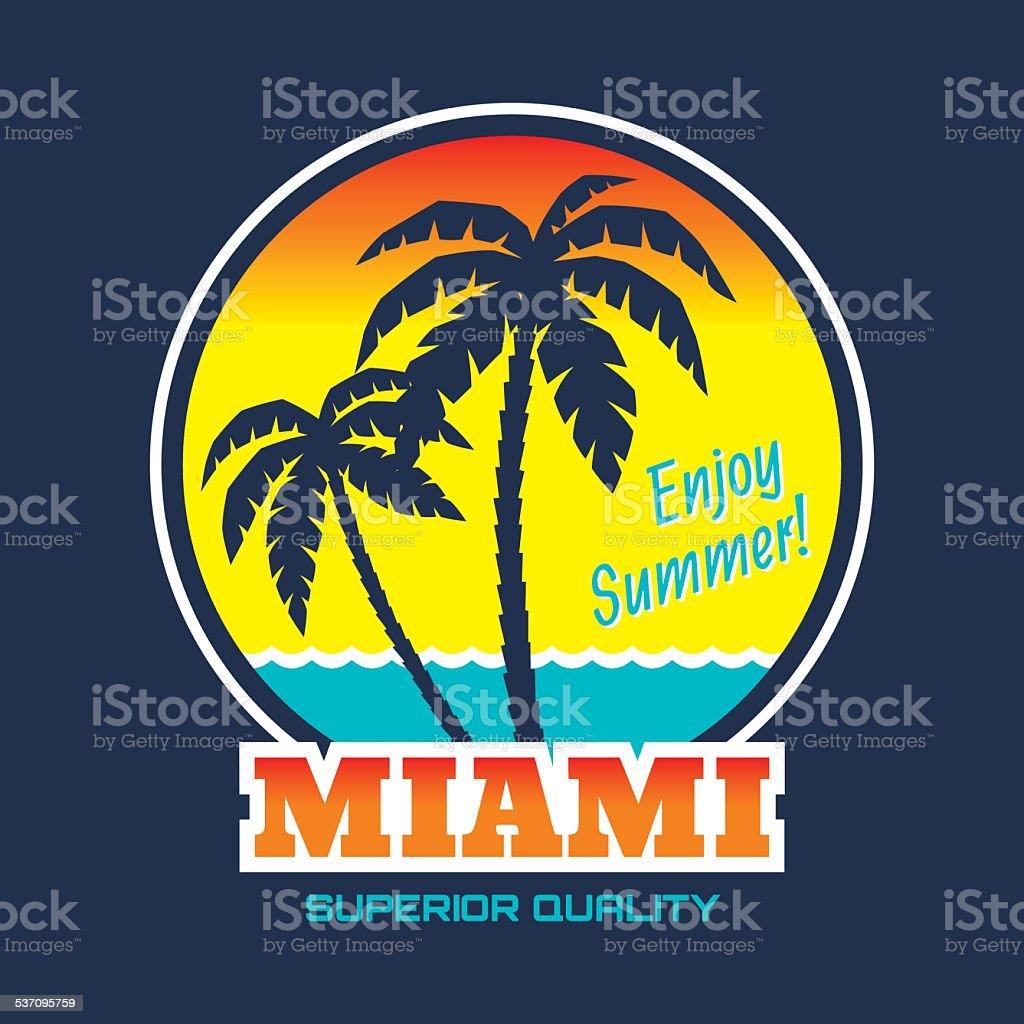 Miami - vintage illustration concept vector art illustration