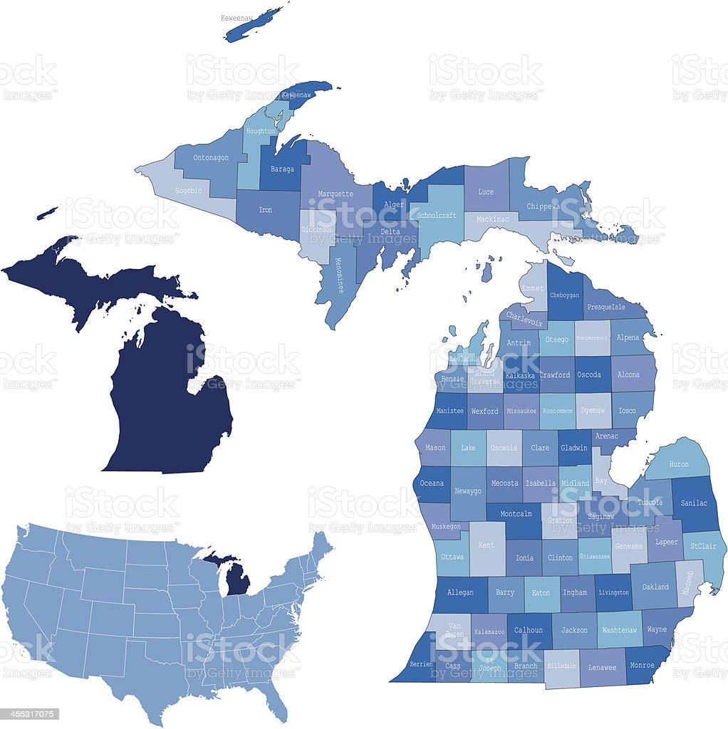 Michigan & counties map royalty-free stock vector art