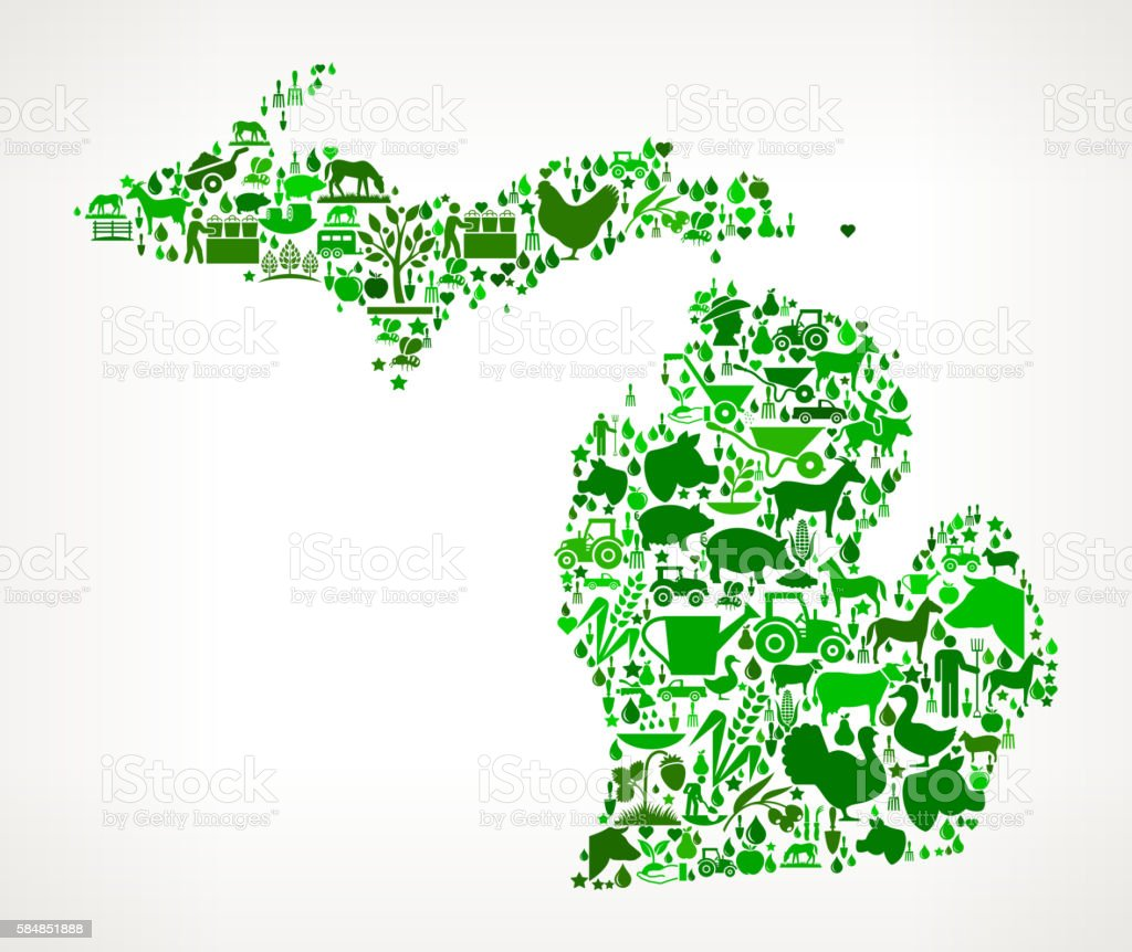 Michigan Farming and Agriculture Green Icon Pattern vector art illustration