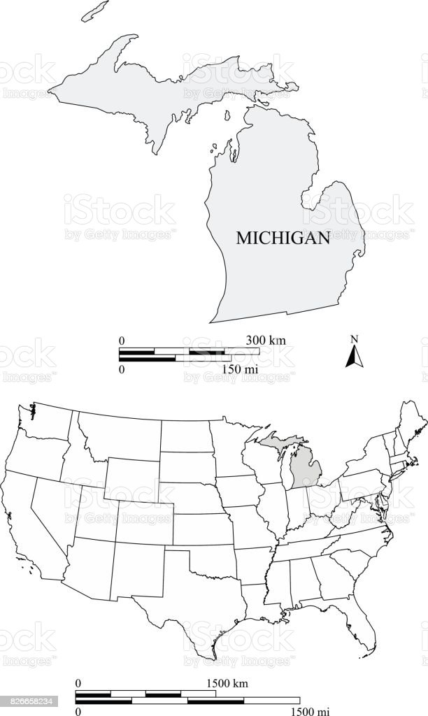 Michigan State Of Us Map Vector Outlines With Scales Of Miles And - Us map michigan