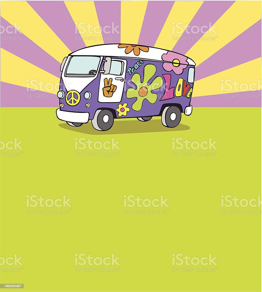 Micro Bus Vehicle Van Background vector art illustration