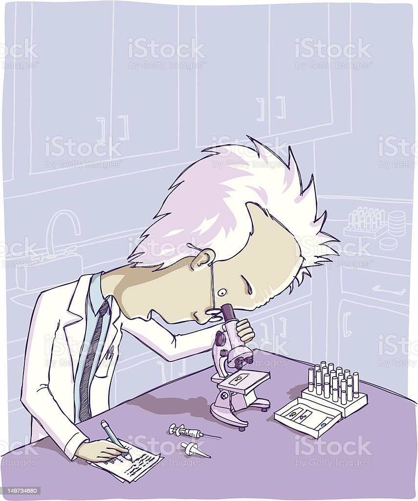Microbiologist vector art illustration