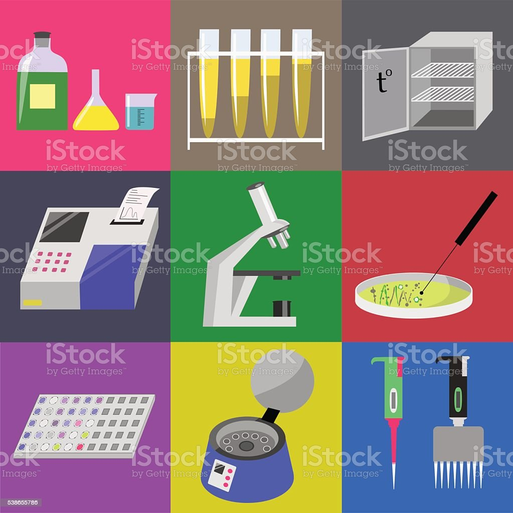 Microbiology laboratory icons set vector art illustration