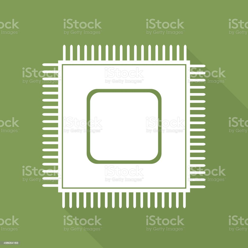 A Microchip web icon on an olive green background royalty-free stock vector art