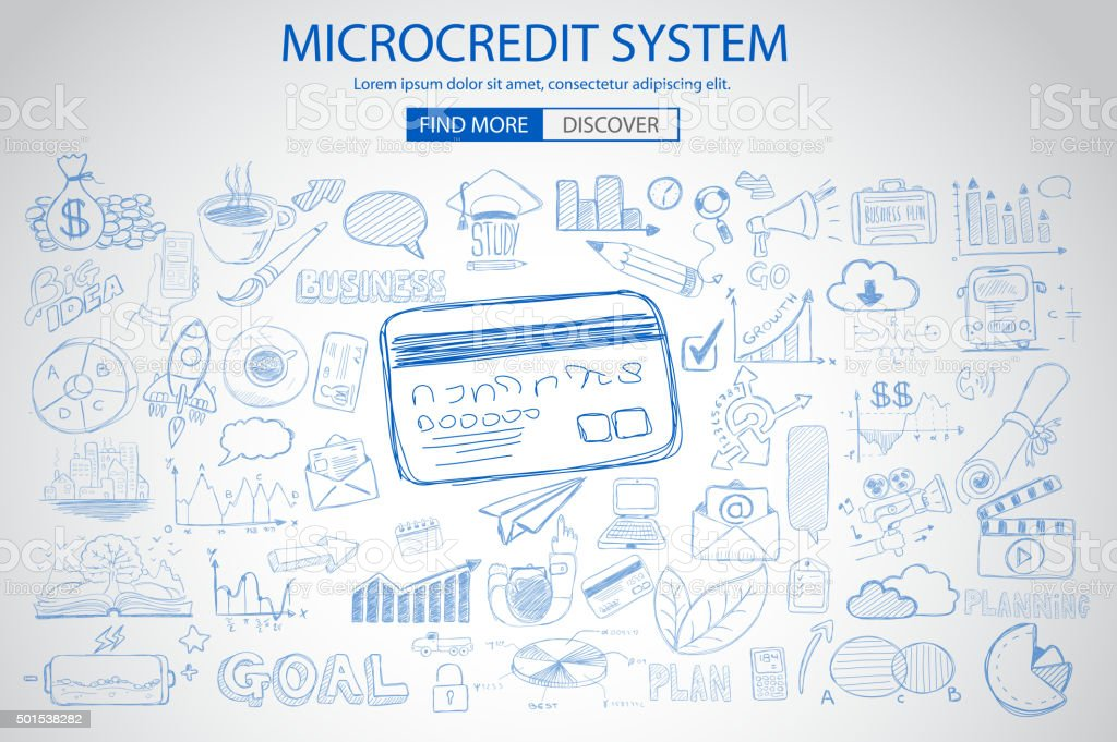 Microcredt Systtem concept with Doodle design style vector art illustration
