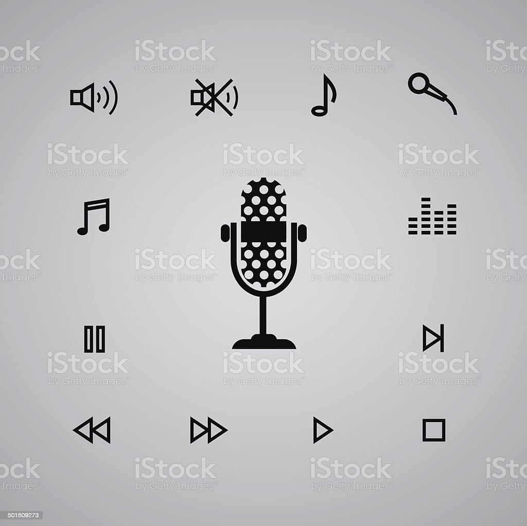 microphone and media icon royalty-free stock vector art