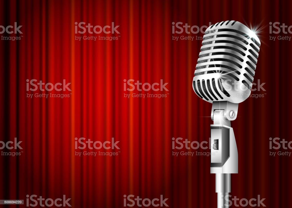 Microphone and red curtain vector art illustration