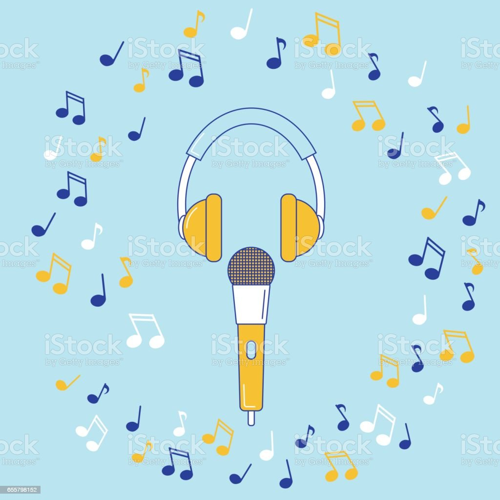 Microphone, earphones and music notes vector art illustration