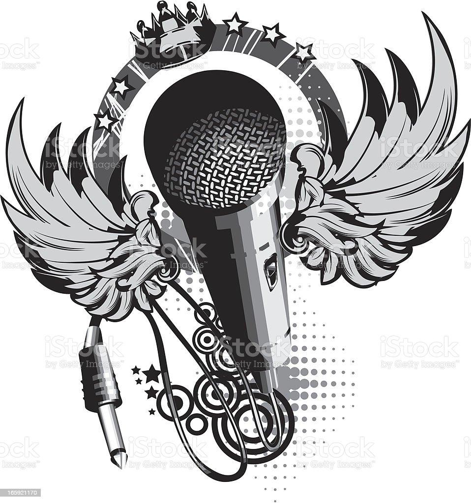 Microphone emblem royalty-free stock vector art