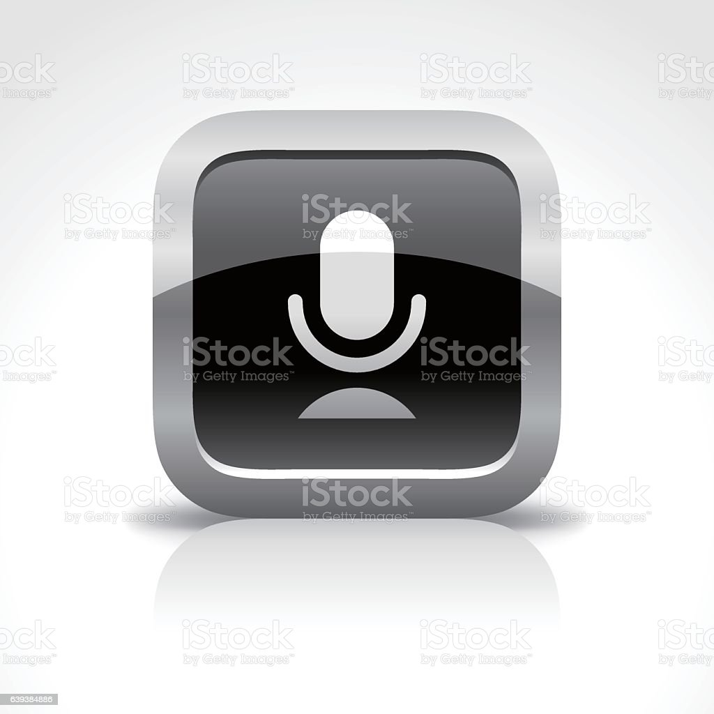 Microphone Glossy Button Icon vector art illustration