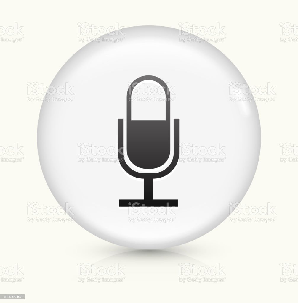 Microphone icon on white round vector button vector art illustration