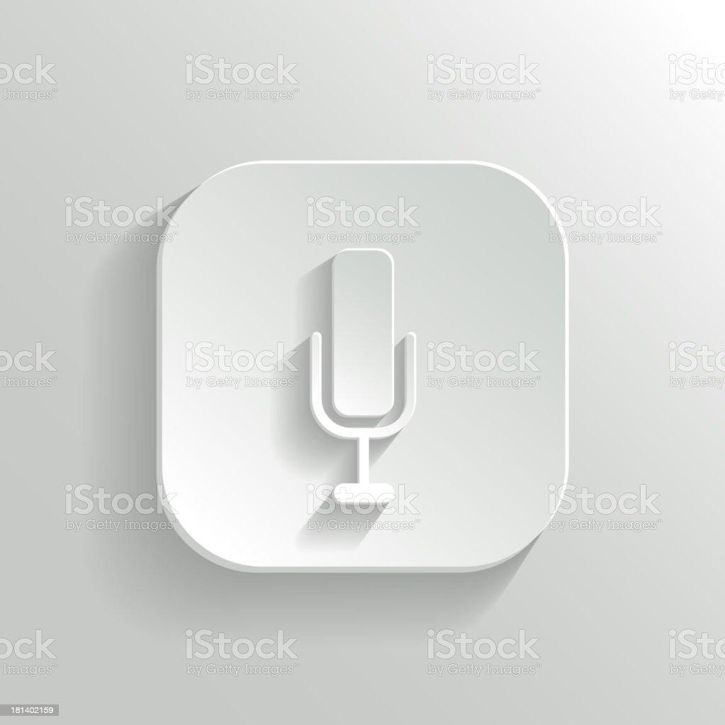 Microphone icon - vector white app button royalty-free stock vector art