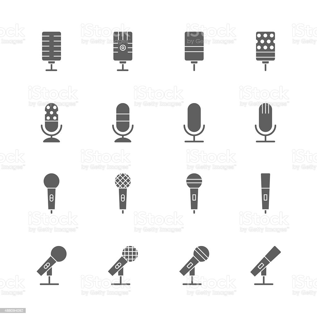 microphone icons set vector art illustration