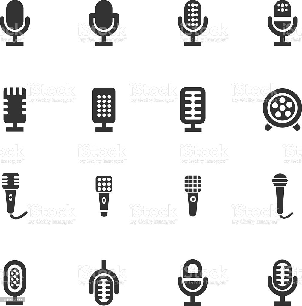 Microphone icons set royalty-free stock vector art