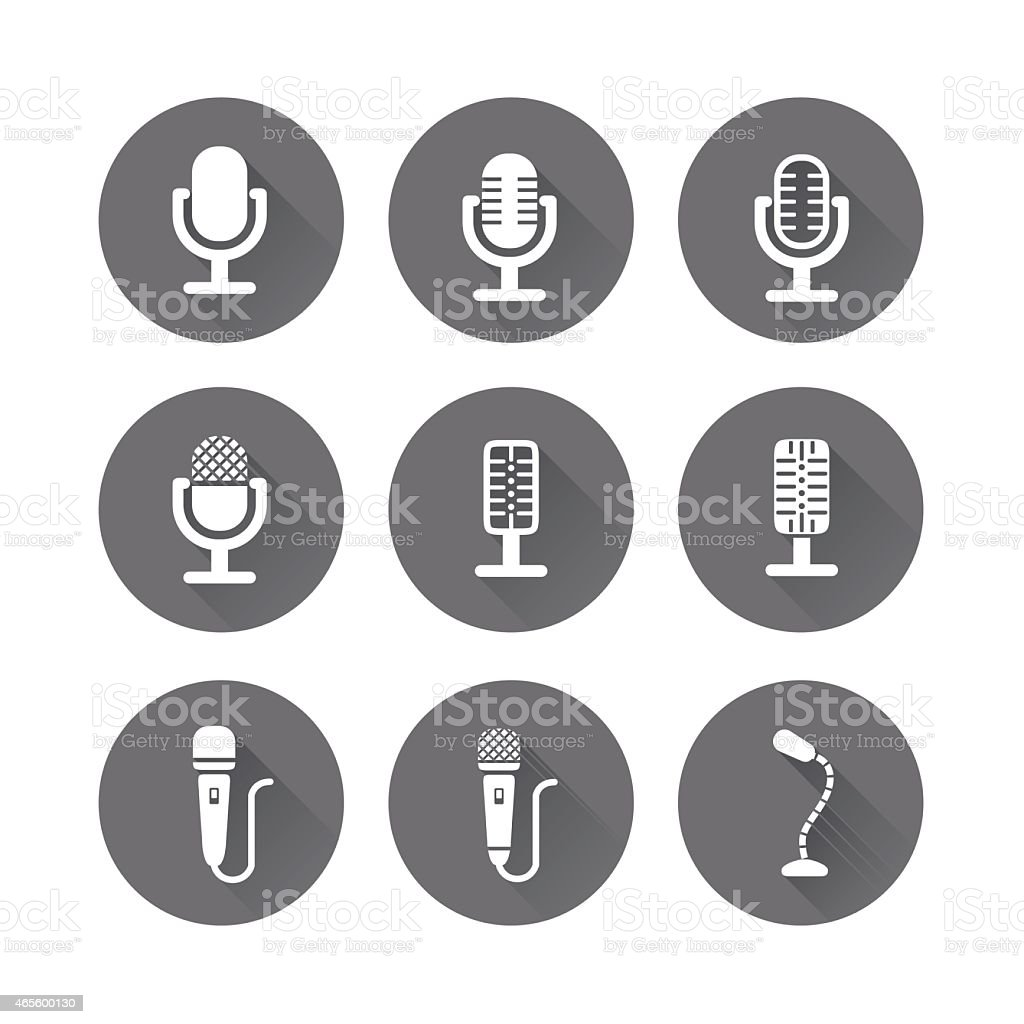Microphone Icons with Long Shadow Vector vector art illustration