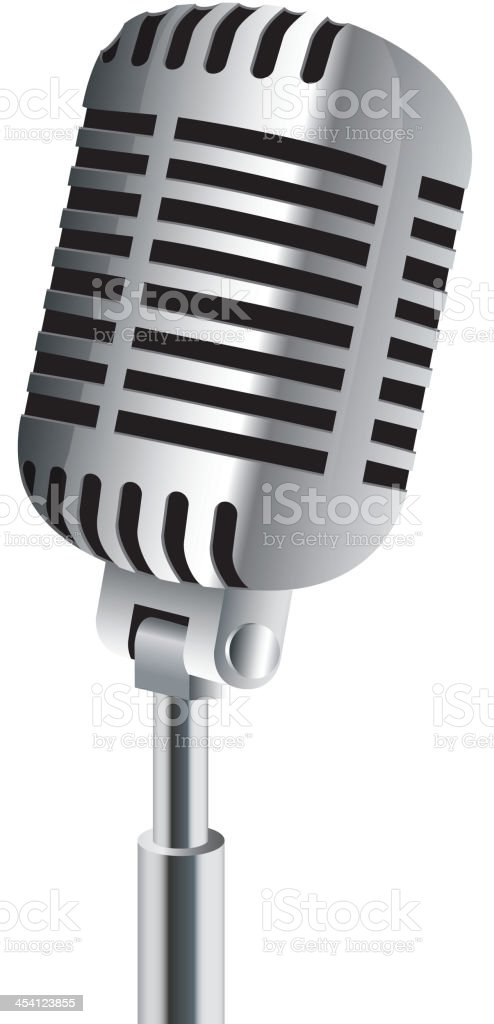 Microphone isolated on white vector art illustration