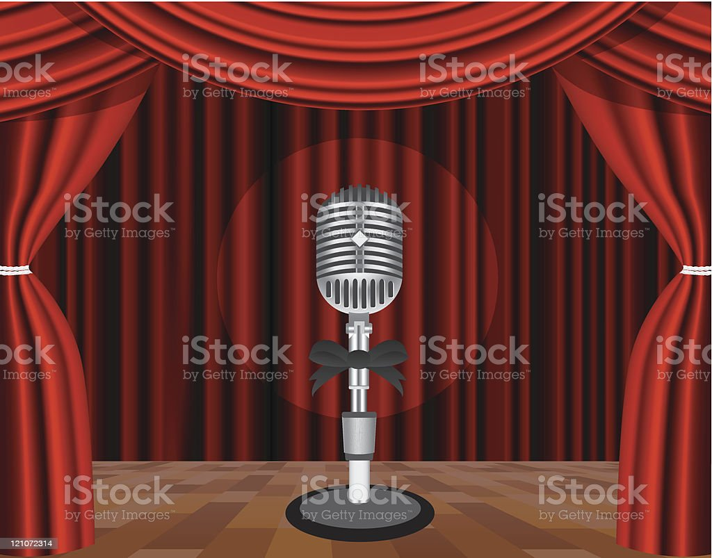 Microphone on a stage royalty-free stock vector art
