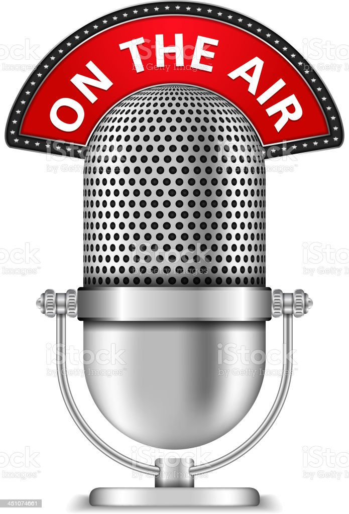 Microphone On The Air vector art illustration