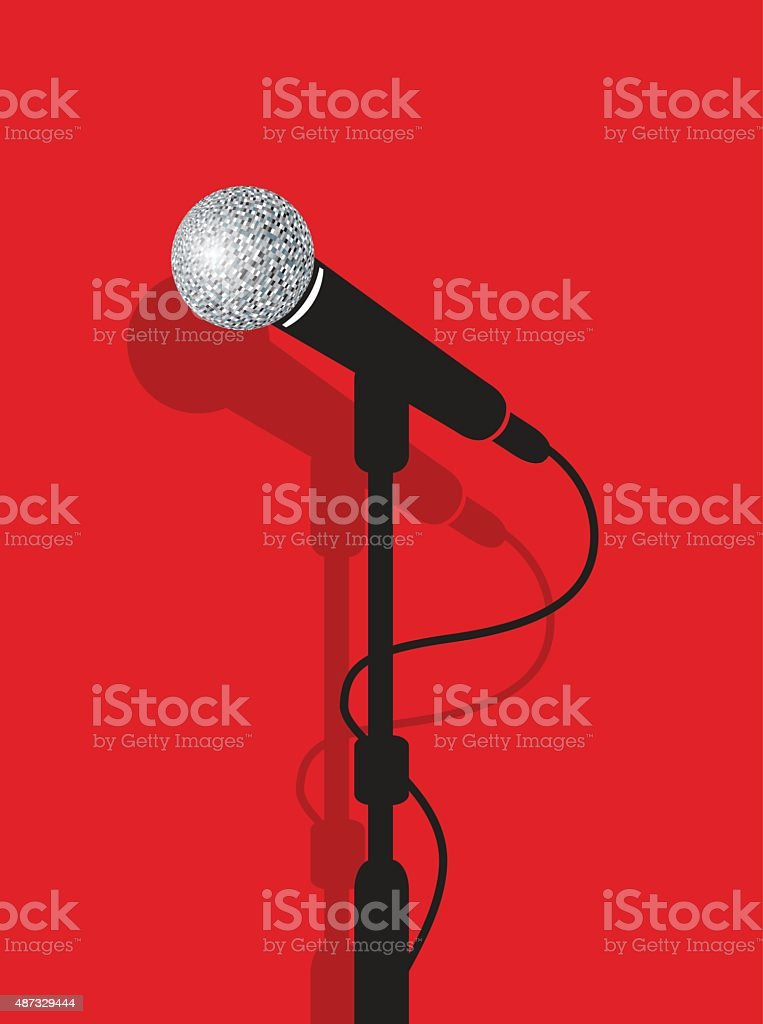 microphone stand vector art illustration